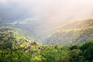 Beautiful soft sun light on tropical Bali village in high mountain with deep jungle forest in Indonesia. Travel outdoor Asia nature