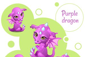 Set of little pink dragon icons