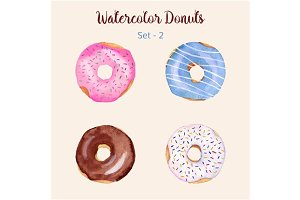 4 Hand painted watercolor donuts