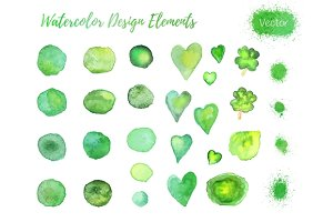 Set of watercolor design elements