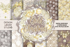 Gold Christma digital papers