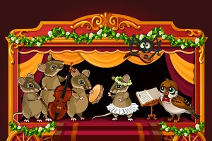 Cute dancing and musicians mouse
