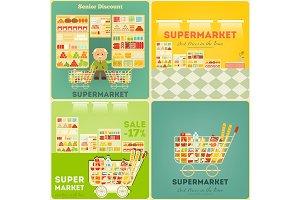 Supermarket Posters Set