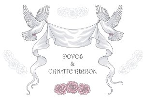 Doves with Ornate Ribbon