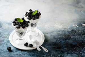 Nut milk dessert with blackberries