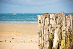 Breakwaters in low tide on seashore