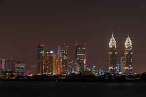 Night cityscape of Dubai city