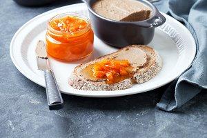 Liver pate and pumpkin orange marmalade