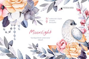 Moonlight. Watercolor collection