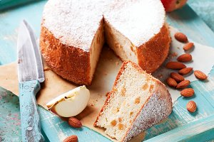 Homemade gluten-free almond apple cake