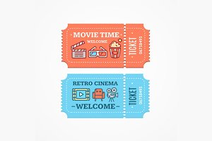 Cinema Tickets Flat Icon Set. Vector