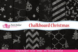 Chalkboard Christmas digital paper