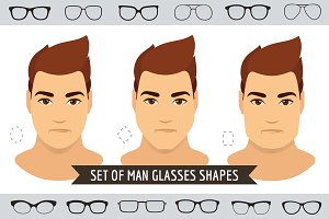 Man glasses shapes-9 face types-set