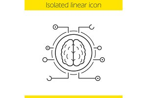 Neural networks linear icon. Vector
