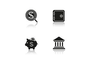 Banking and finance. 4 icons. Vector