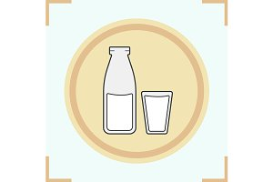 Milk bottle and glass icon. Vector