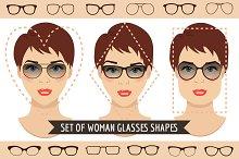 Woman sunglasses shapes. 9 sets.