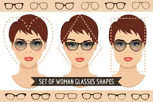 Woman sunglasses shapes. 9 sets.