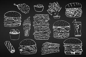 Fast food set. + Seamless patterns