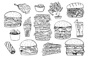 Fast food set. + Seamless patterns