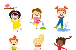 Little kids happy playing vector