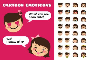 Little Cartoons. Boy&Girl Emoticons