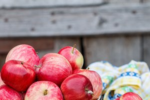 Juicy organic red  apples