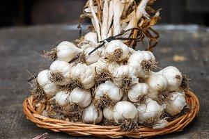 A bunch of dry garlic