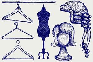 Mannequins, hangers, wigs