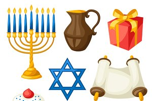 Hanukkah objects and icons.