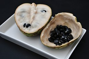 cherimoya half and seeds