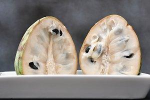 cherimoya fruit two halves