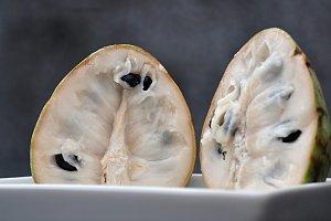 cherimoya fruit, two halves
