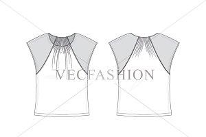 Women T-shirt Top Vector Template