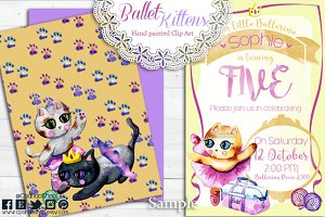 Ballerina ballet kittens clip art