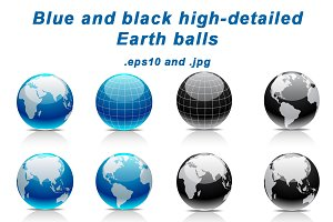 Blue and black Earth balls