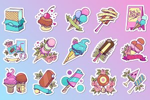 Ice Cream stickers set
