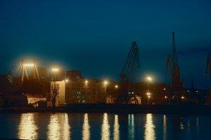 Port Cranes At Night