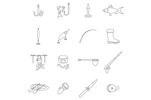 Fishing icon set, outline style