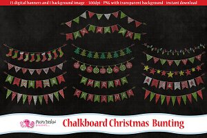 Chalkboard Christmas Bunting clipart
