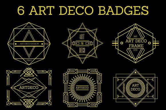 6 Art Deco Badges