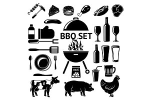 Vector set for BBQ party.