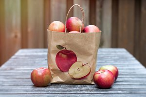Apples in paper bag