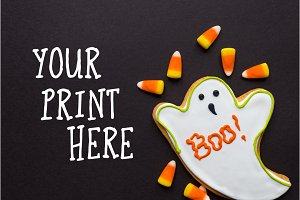 Halloween Mockup with a Ghost Cookie