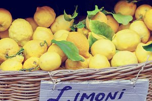 Yellow lemons in basket