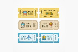 Bus Train Airplane Tickets. Vector