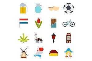 Netherlands icons set, flat style