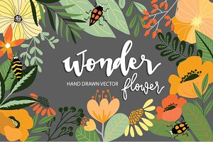 Wonder flower hand drawn VECTOR DIY