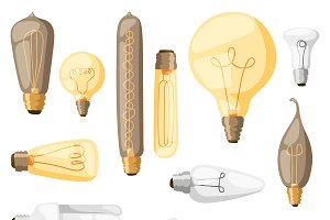 Cartoon interior lamps flat vector