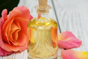 Massage oil with rose petals